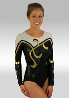 Leotard Long Sleeves Black Wetlook White Gold Silver Glitter Sequins and Rhinestones V487