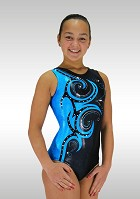 Sleeveless Leotard Blue and Black Wetlook V677