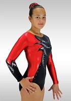 Long sleeved Leotard V761 black velvet red wetlook glitter