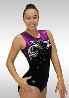 Leotard sleeveless black velvet aubergine wetlook glitter Vr-5633