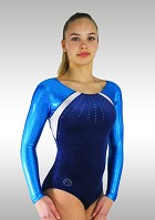 Leotard K717 Long sleeves dark blue Velvet metallic turquoise Wetlook Glitter