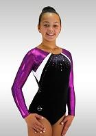 Leotard K718 long sleeves black velvet purple wetlook glitters