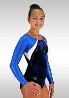 Leotard dark Blue Velvet Long Sleeves wetlook Glitter Strass  K719