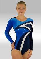 Leotard long Sleeves Blue and White Velvet V505