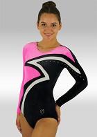 Leotard Long Sleeves Black Pink and White Velvet V508
