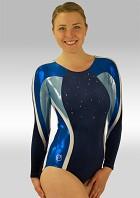 Leotard Long Sleeves Blue Velvet Blue White Wetlook Glitter Sequins and Rhinestones V526