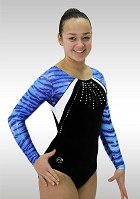 Leotard K733 black Velvet blue Wetlook Glitter long sleeves