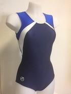 Leotard B720 Sleeveless dark blue Velvet metallic blue Wetlook Glitter