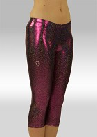 Legging 3/4 long Purple Black shining wetlook W754454