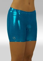Gymnastics legging short turquoise wetlook O756tu