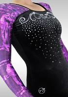 Leotard K781 Long Sleeve aubergine wetlook black velvet glitters