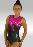 Leotard Without Sleeves Black Shining Pink Silver Wetlook Glitter Sequins and Rhinestones V495