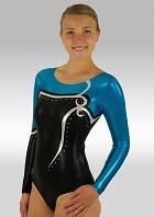 Leotard Long Sleeves in Black Blue Silver Wetlook Glitter Sequins and Rhinestones V513