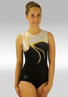 Gym Leotard Sleeveless Balck Velvet Silver Wetlook Gold Strass V552