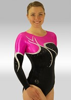 Gym Leotard Long Sleeves Black Velvet Pink Wetlook Strass V554